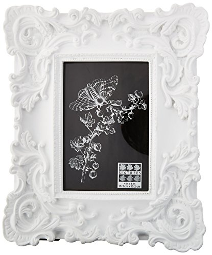 Sixtrees Baroque Frame, 4 by 6-Inch, - Baroque Frame White