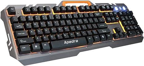 keyboard Teclado retroiluminado de Metal,Teclado para Juegos ...