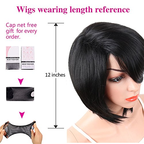 KRSI Short Pixie Cut Straight Bob Synthetic Wigs for Women Heat Resistant Costume African American Wigs with Bangs Natural Black Full Wigs That Look Real+Free Wig Cap (Black 2) by KRSI (Image #7)