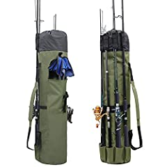 Specification:   Store and carry up to 5 rods and reels in the pockets on the outside of the bag. Securely fastened with double straps at top of bag and features a quick fastener strap around the outside center that secures gear during transp...