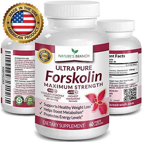 ★ Premium 100% Ultra Pure Forskolin Extract for Weight Loss MAX Strength w/ 40% Standardized Coleus Forskohlii Root Extract Complex Belly Buster Supplement Ultimate Keto Boost 60 Diet Pills