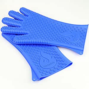 "iMagitek Newest BBQ Grill Cooking Gloves, Best Versatile Heat Resistant Insulated Silicone Oven Gloves for BBQ Grilling, Kitchen Cooking - 14.4"" Long For Extra Forearm Protection (1 Pair)"