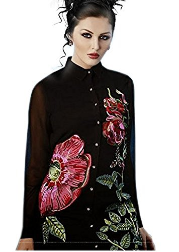 Jayayamala Women's Long Sleeve White Button Down Shirt – Black Georgette Shirt - Women's Embroidered Clothing - Button Down - Designer Work Clothing (XXL)
