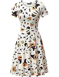 Womens Short Sleeves Casual A-line Halloween Pumpkin Dress