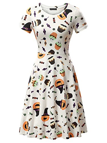 FENSACE Womens Short Sleeves Casual A-Line Halloween Pumpkin Dress, Candy, Medium ()