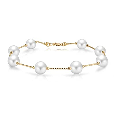 f61db643a4040 14K Real Yellow Gold Bar Link Tin Cup White Freshwater Cultured Pearl 7.5mm  Bracelet For Women