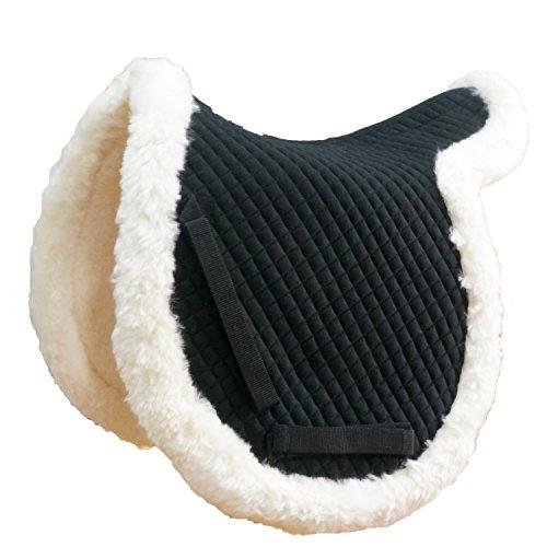 Australian Saddles And Tack - VAST Merino Fleece English Horse Saddle Pad All Purpose Sheepskin Cover (White-Black)
