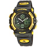 50m Water-proof Digital-analog Boys Girls Sport Digital Watch with Alarm Stopwatch Chronograph (Yellow)