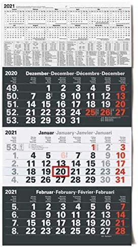 Kalender 3-Monatskalender 2021 Wandkalender groß - Kombi 3 Monatskalender ohne Werbung mit Datumsschieber | Bürokalender Monatsübersicht drei Monate mit Jahresübersicht | XXL 56 x 30 cm Planer
