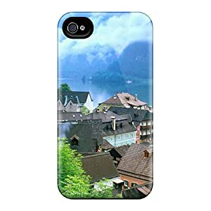 New Premium Uwa3650LeHr Case Cover For Iphone 4/4s/ Beautiful Town On A Lake Protective Case Cover