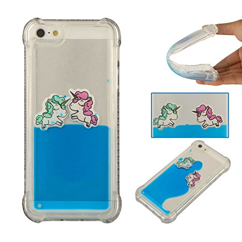 iPhone SE Case, iPhone5 5S Case, Fisel Flowing Creative Swimming Magic Funny Horse Slim Fit Clear Gel Transparent Hard 3D Liquid Case Cover Shell for iPhone - Price Jordans Retail