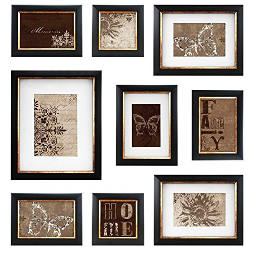mcs 49983 9 piece frame set with usable artwork bronze finish