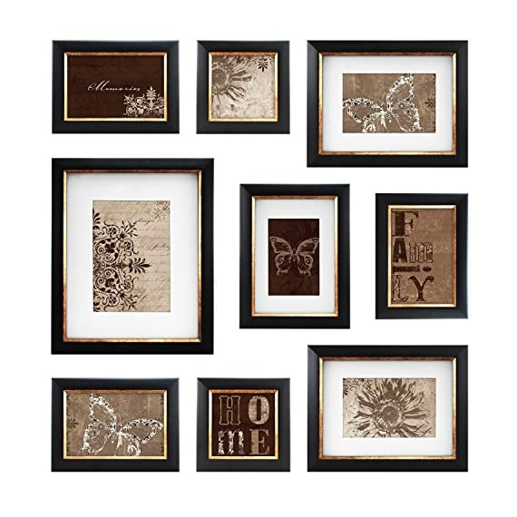 MCS  9pc Frame Set with Usable Artwork, Bronze Finish (49983) - Frame Sizes include 1-8x10 with mat to fit 5x7 photo, 2-6x8 with mats to fit 4x6 photos, 1-5x7 with mat to fit 3.5x5 photo, 3-4x6, 2-4x4 All frames have easels for table top Display and hangers for wall hanging Frames have a dark Bronze Finish With an antique bronze interior border - picture-frames, bedroom-decor, bedroom - 51Cb7MOWQ5L. SS570  -