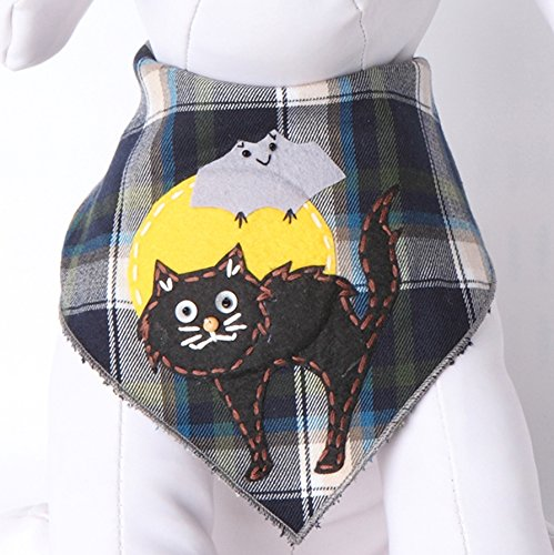 Picture of Tail Trends Halloween Dog Bandanas with Scary Cat Designer Appliques 100% Cotton (L)