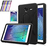 Windrew Heavy Duty rugged impact Hybrid Case with Build In Kickstand Protective Case For Alcatel Onetouch POP 7 LTE (T-Mobile 2016 Model 9015W) + Screen Protector Film and stylus pen (Black)