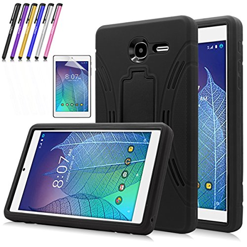 Windrew Heavy Duty rugged impact Hybrid Case with Build In Kickstand Protective Case For Alcatel Onetouch POP 7 LTE (T-Mobile 2016 Model 9015W) + Screen Protector Film and stylus pen (Black) - Tablet Case For Alcatel One Touch
