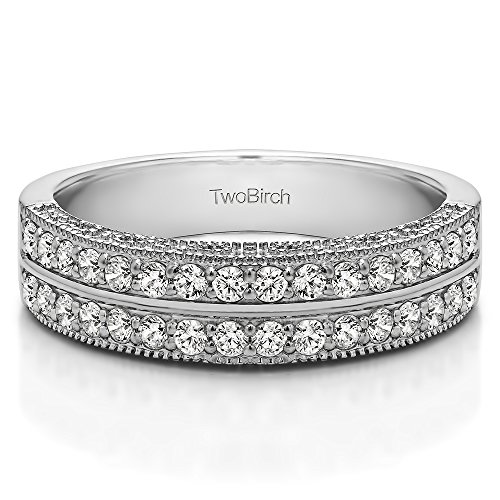 0.31Ct Double Row Vintage Filigree Millgrained Wedding band in Sterling Silver Diamonds (G-H,I2-I3)(Size 3 to 15 in 1/4 Size Intervals)