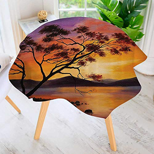 Philiphome Round Tablecloth-Old Tree nding Over The River with Mountain Landscape SunBa Waterproof Wine Tablecloth Wedding Party Restaurant 71