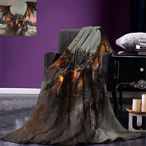 smallbeefly Fantasy World Digital Printing Blanket Illustration of Three Headed Fire Breathing Dragon Large Monster Gothic Theme Summer Quilt Comforter Brown Grey - Breathing Dragon Blue Fire