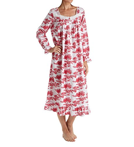 Eileen West Toile Flannel Ballet Nightgown (5219839) M/White/Red (Toile Nightgown)