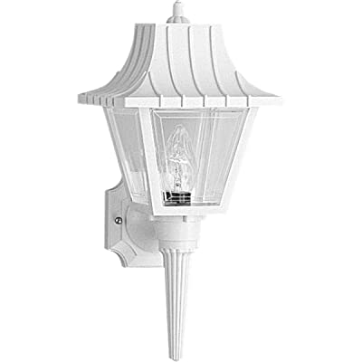 Progress Lighting P5815-30 Wall Torch with Ribbed Mansard Roof Beveled Clear Acrylic Panels, White: Home Improvement