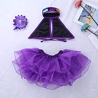 moily Girls 3-Pieces Sequins Modern Jazz Latin Ballet Dance Outfit Halter Crop Top with Tutu Skirts Hairclip: Clothing