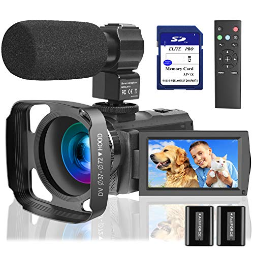 Video Camera Camcorder with Microphone 1080P, VideoSky 42MP HD 30FPS Digital Recording Camcorders for YouTube 64 GB…