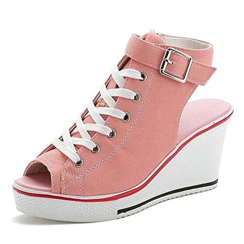 Wealsex Damen Canvas Sandalen Keilabsatz Schuhe Pink