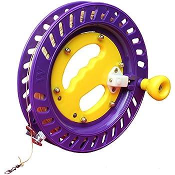 Hengda Kite Professional Color Kite Ballbearing Reel Line Winder Grip Wheel + 300M Tire Line With Lock-Purple