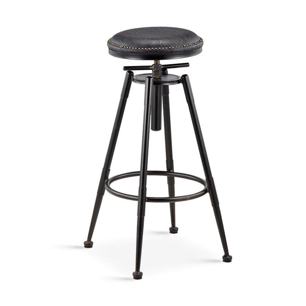 ZRX-カウンターチェア ヴィンテージバースツールアイロンカウンターチェアキッチン朝食スツールダイニングチェアハイスツールレジャーシート調節可能な高さスイベルチェア(ブラックPUシート) (色 : A) B07FCHH4QN A A