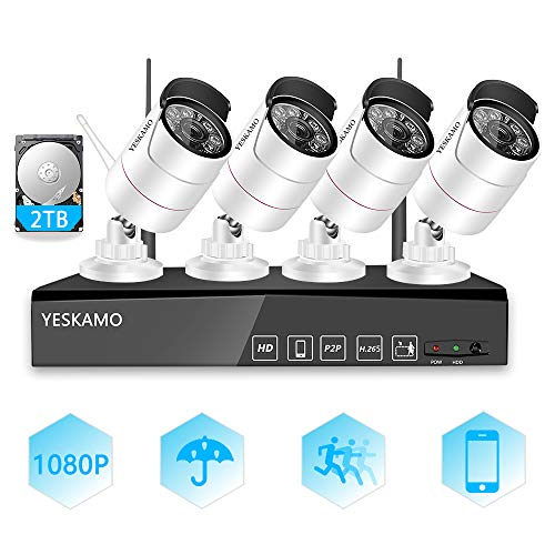 YESKAM 1080P Wireless Security Camera System Outdoor Full HD 4 Channel Network Video Recorder with 2TB Hard Drive for Home Surveillance Camera System