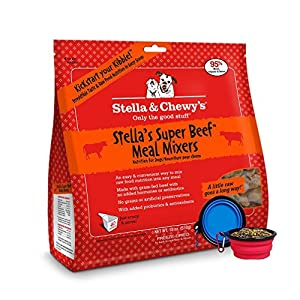Stella & Chewy's Freeze Dried Dog Food,Snacks Super Meal Mixers 18-ounce Bag With Free Bonus Hot Spot Pets Food Bowl - Made in USA (Beef)