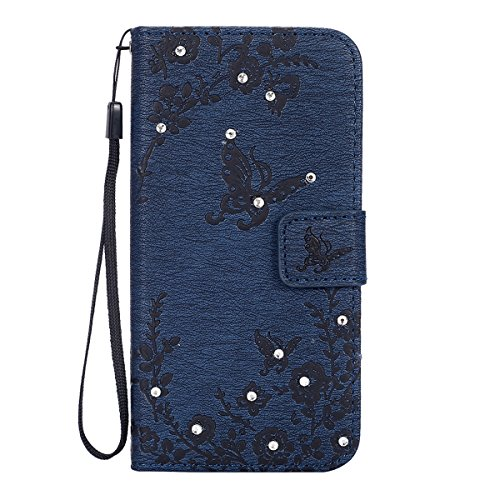 IKASEFU Retro Bling Glitter Butterfly Flower Damond Wallet Leather Flip Case Cover with Strap for Samsung Galaxy S6-Navy Blue