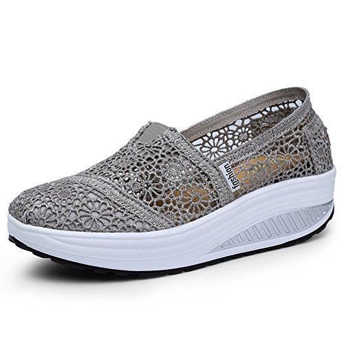 Grey Shoes Walking Sale (Mljsh Women's Mesh Slip-On Platform Toning Shoes Grey Crochet Fitness Work Out Sneaker US 6 Women)
