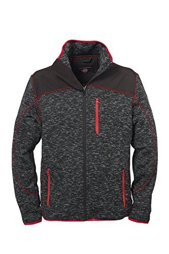 Strick-Jacke Fleece-Jacken für Herren von Fifty Five - St. Johns darkgrey L - mit wasserabweisenden Schulterapplikationen aus Softshell