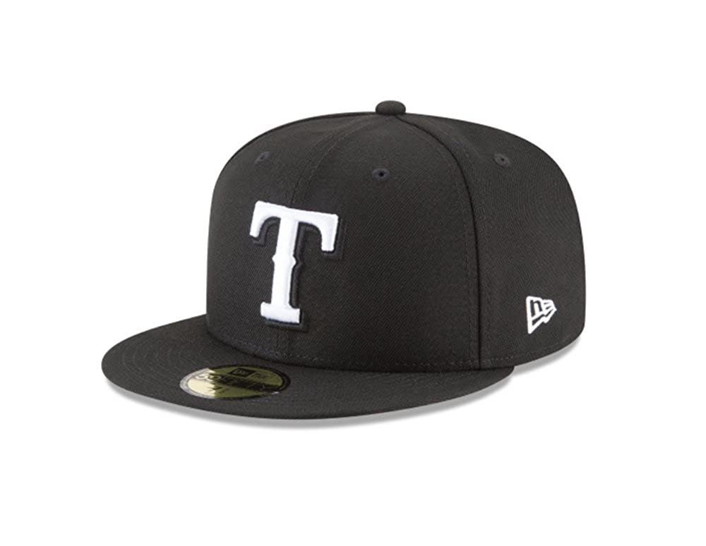 los angeles 3d0c4 31113 Amazon.com  New Era 59Fifty Hat MLB Basic Texas Rangers Black White Fitted  Baseball Cap  Clothing