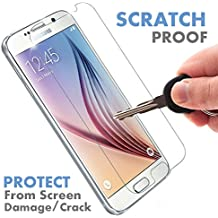 ⚡[ PREMIUM QUALITY ] Samsung Galaxy S6 Tempered Glass Screen Protector - Shield, Guard & Protect Phone From Crash & Scratch - Anti Fingerprint, Smudge & Shatter Proof - Best Lcd Display Protection