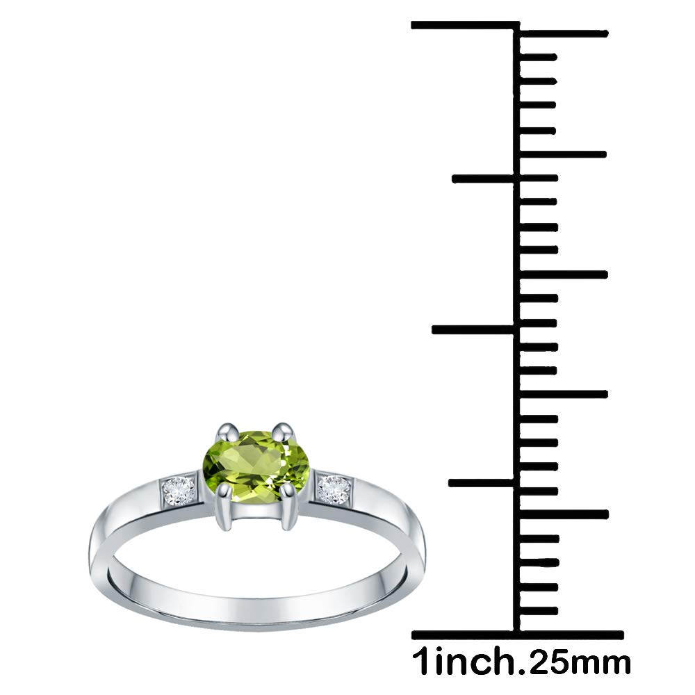 Birthstone Month-August Ring Size-8 0.60 Ct Green Oval Cut Peridot And White Topaz 925 Sterling Silver Wedding Ring For Women Nickel Free Beautiful And Stylish Thanks Giving Gifts For Her