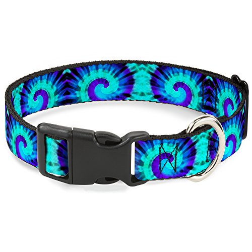 Buckle Down Cat Collar Breakaway Tie Dye Swirl Purples Blues 9 to 15 Inches 0.5 Inch Wide ()