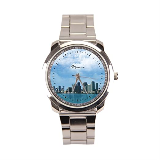 anglecity Miami Skyline - Reloj de pulsera de acero inoxidable: Amazon.es: Relojes