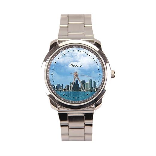 anglecity Miami Skyline - Reloj de pulsera de acero inoxidable: Amazon.es: Relojes