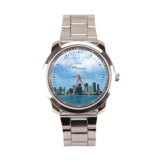 anglecity Miami Skyline – Reloj de pulsera de acero inoxidable