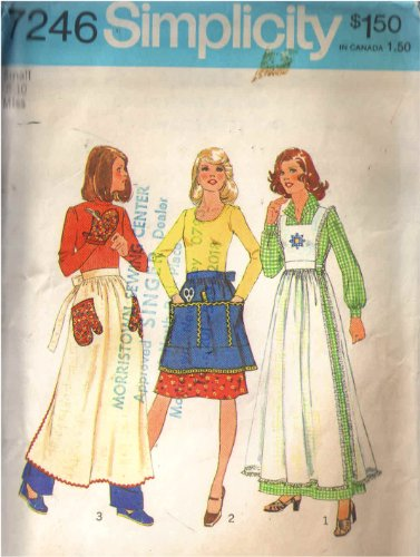 Simplicity 7246 Sewing Pattern for Pinafore, or Aprons in 3-lengths & Oven Mitt Vintage 1975