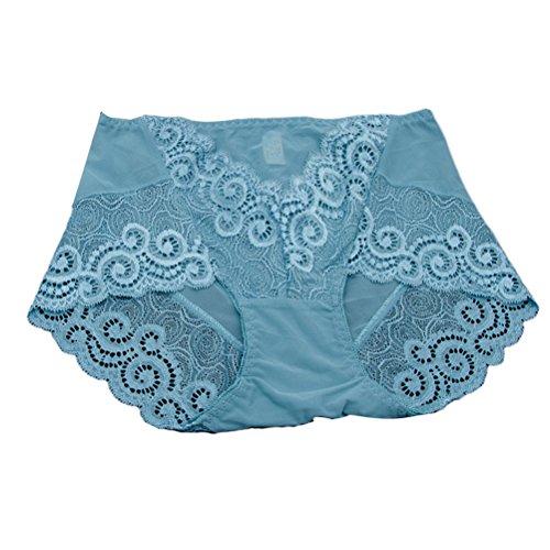 Zhhlaixing Fashion La ropa interior transpirable Net Yarn High Waist Womens Underwear Lace Hollow Underpants Multicolor Light Blue