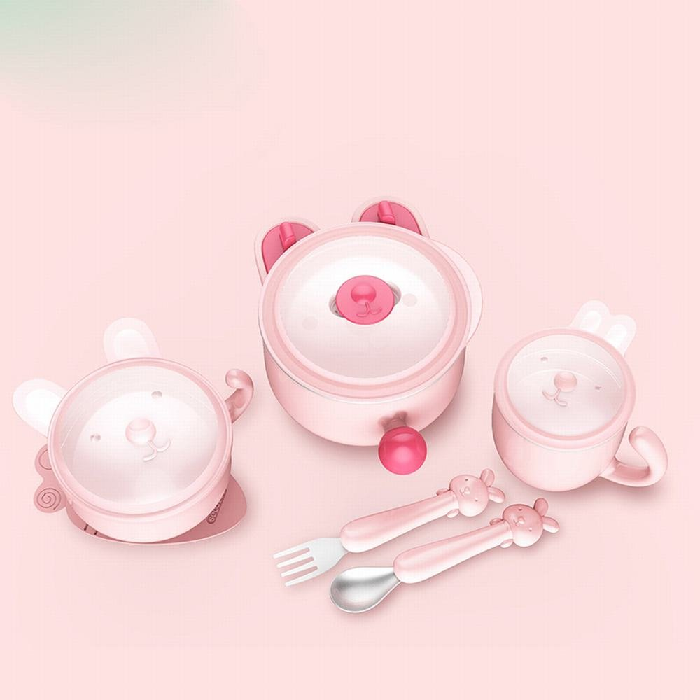 MKKM Children 'S Cutlery Set Insulation Bowl Baby Food Bowl Stainless Steel Water Drop Drop Sucker Bowl Baby Spoon,Pink