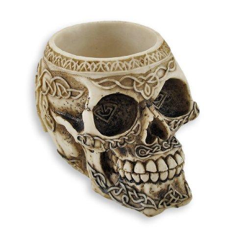 - Zeckos Celtic Knot Skull Pen Holder