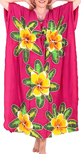 da m806 donne LEELA pigiameria delle beachwear vestito largo Rosa rayon aloha costumi kaftan sera bagno LA BZIq1xq