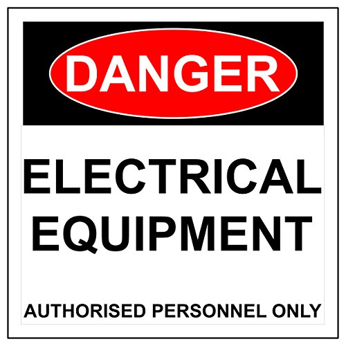 """BannerBuzz Aluminum Safety Sign, Danger: Electrical Equipment Signs Black/Red on White (36"""" Height X 24"""" Width) from BannerBuzz"""