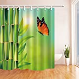 Plant Shower Curtains By KOTOM Green Bammboo With Butterfly Nature Joy Bath Curtains, 72X72 Inches, Green