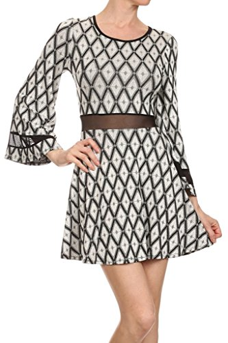 Print Bell Sleeve Mesh Trim A-Line Mini Dress (MADE IN U.S.A) (Trim Mesh Bell Sleeve Mini)